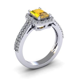 1 1/3 Carat Citrine and Halo Diamond Ring In 14 Karat White Gold