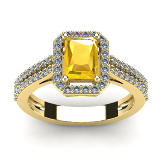 1 1/3 Carat Citrine and Halo Diamond Ring In 14 Karat Yellow Gold
