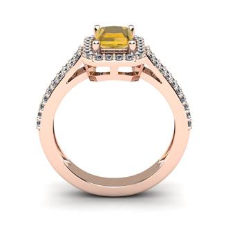 1 1/3 Carat Citrine and Halo Diamond Ring In 14 Karat Rose Gold