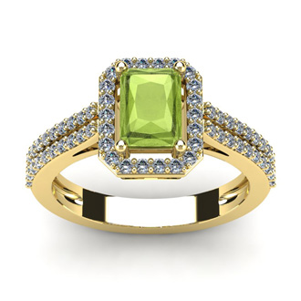 1 1/2 Carat Emerald Cut Peridot and Halo Diamond Ring In 14 Karat Yellow Gold
