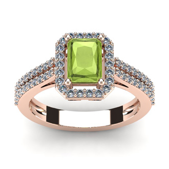 1 1/2 Carat Emerald Cut Peridot and Halo Diamond Ring In 14 Karat Rose Gold