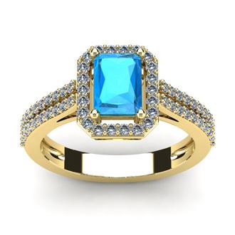 1 1/2 Carat Blue Topaz and Halo Diamond Ring In 14 Karat Yellow Gold