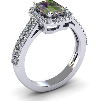 1 1/3 Carat Emerald Cut Mystic Topaz and Halo Diamond Ring In 14 Karat White Gold