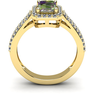 1 1/3 Carat Mystic Topaz and Halo Diamond Ring In 14 Karat Yellow Gold