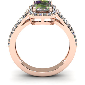 1 1/3 Carat Mystic Topaz and Halo Diamond Ring In 14 Karat Rose Gold