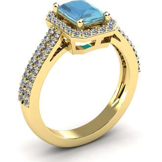 1 1/3 Carat Aquamarine and Halo Diamond Ring In 14 Karat Yellow Gold