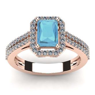 1 1/3 Carat Aquamarine and Halo Diamond Ring In 14 Karat Rose Gold