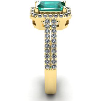 1 1/3 Carat Emerald and Halo Diamond Ring In 14 Karat Yellow Gold