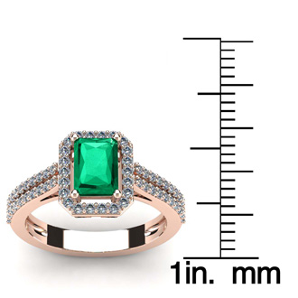1 1/3 Carat Emerald and Halo Diamond Ring In 14 Karat Rose Gold