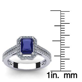 1 1/2 Carat Tanzanite and Halo Diamond Ring In 14 Karat White Gold