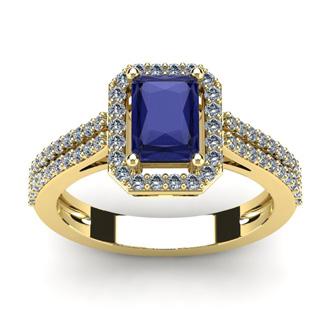 1 1/2 Carat Tanzanite and Halo Diamond Ring In 14 Karat Yellow Gold