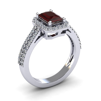 1 3/4 Carat Garnet and Halo Diamond Ring In 14 Karat White Gold