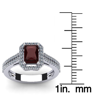 1 3/4 Carat Emerald Cut Garnet and Halo Diamond Ring In 14 Karat White Gold