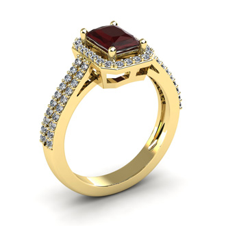1 3/4 Carat Garnet and Halo Diamond Ring In 14 Karat Yellow Gold