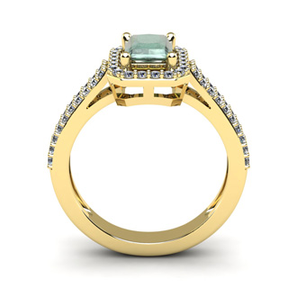 1 1/3 Carat Green Amethyst and Halo Diamond Ring In 14 Karat Yellow Gold