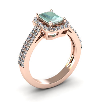 1 1/3 Carat Green Amethyst and Halo Diamond Ring In 14 Karat Rose Gold