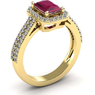 1 1/2 Carat Ruby and Halo Diamond Ring In 14 Karat Yellow Gold