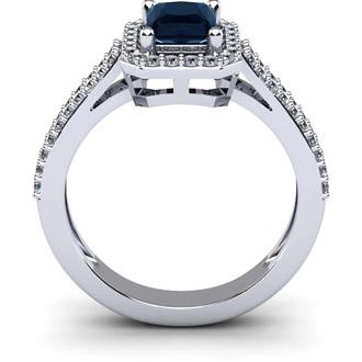 1 1/2 Carat Sapphire and Halo Diamond Ring In 14 Karat White Gold