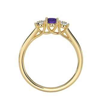1/2 Carat Oval Shape Amethyst and Two Diamond Ring In 14 Karat Yellow Gold