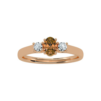 1/2 Carat Oval Shape Citrine and Two Diamond Ring In 14 Karat Rose Gold