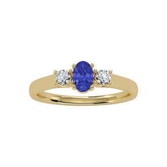 3/4 Carat Oval Shape Tanzanite and Two Diamond Ring In 14 Karat Yellow Gold