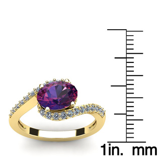 1 1/3 Carat Oval Shape Amethyst and Halo Diamond Ring In 14 Karat Yellow Gold
