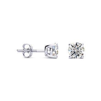 2/3ct Diamond Stud Earrings in 14k White Gold, H/I Color, SI1-SI2 Clarity