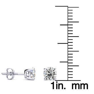 Platinum 2/3ct Diamond Stud Earrings, I/J Color, I1 Clarity