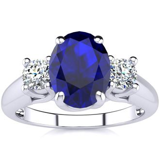 Beautiful Blue Sapphire and Diamond Ring In 14 Karat White Gold