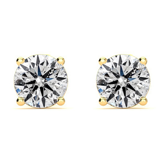 82e06ff23 Colorless 1 Carat Genuine Natural Diamond Stud Earrings In 14 Karat Yellow  Gold