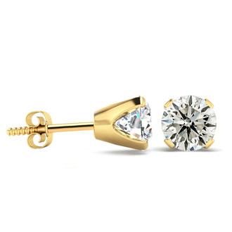 2ct Diamond Stud Earrings in 14k Yellow Gold
