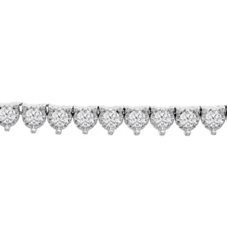 14K White Gold 8.33 Carat Diamond Tennis Necklace, 17 Inches