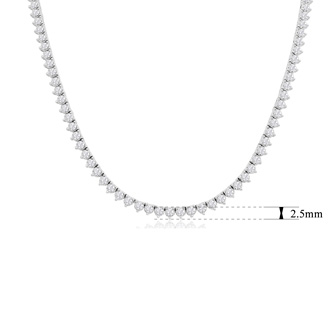 14K White Gold 8.33 Carat Diamond Tennis Necklace, 17 Inches