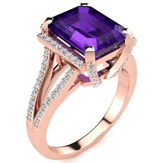 3 1/2 Carat Emerald Cut Amethyst and Halo Diamond Ring In 14 Karat Rose Gold
