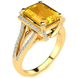 3 1/2 Carat Emerald Cut Citrine and Halo Diamond Ring In 14 Karat Yellow Gold