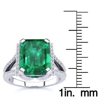 3 1/2 Carat Emerald and Halo Diamond Ring In 14 Karat White Gold