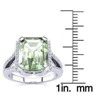 3 1/2 Carat Emerald Cut Green Amethyst and Halo Diamond Ring In 14 Karat White Gold