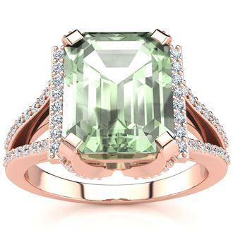 3 1/2 Carat Emerald Cut Green Amethyst and Halo Diamond Ring In 14 Karat Rose Gold