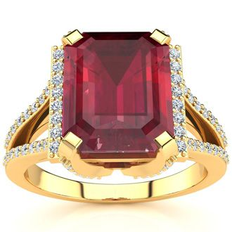 4 3/4 Carat Emerald Cut Ruby and Halo Diamond Ring In 14 Karat Yellow Gold
