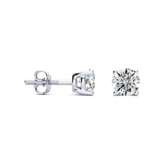 1ct Hearts & Arrows Diamond Earrings in 18k White Gold, G/H, SI1/SI2