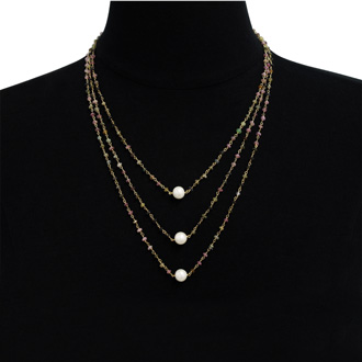 41 Carat Pink Tourmaline and Pearl Triple Strand Necklace In 14K Yellow Gold Over Sterling Silver, 20 Inches
