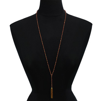 58 Carat Ruby Y Bar Strand Necklace In 14K Yellow Gold Over Sterling Silver, 36 Inches