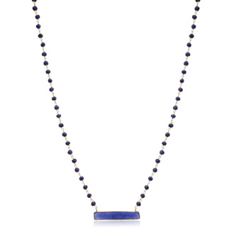 36 Carat Blue Sapphire Bar Necklace In 14 Karat Yellow Gold Over Sterling Silver, 18 Inches