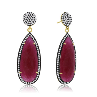 32 Carat Pear Shape Ruby and Crystal Dangle Earrings In 14K Yellow Gold Over Sterling Silver