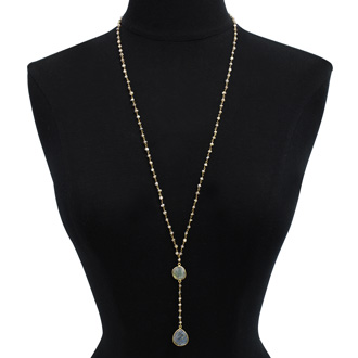 79 Carat Labradorite Pear Shape Y Bar Strand Necklace In 14K Yellow Gold Over Sterling Silver, 36 Inches