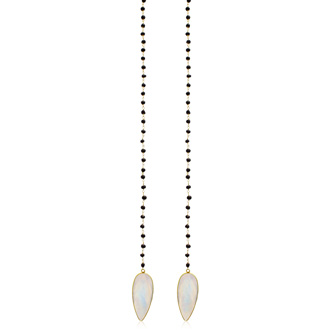 99 Carat Pear Shape Moonstone and Black Onyx Open Layer Necklace In 14 Karat Yellow Gold Over Sterling Silver, 38 Inches