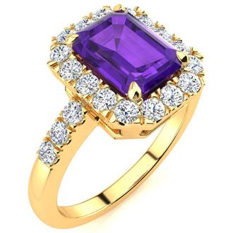 2 Carat Emerald Cut Amethyst and Halo Diamond Ring In 14 Karat Yellow Gold