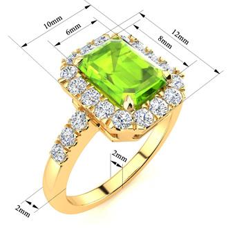 2 1/4 Carat Emerald Cut Peridot and Halo Diamond Ring In 14 Karat Yellow Gold