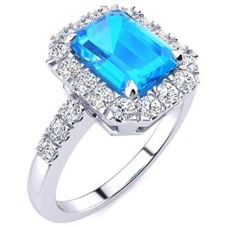 2 1/2 Carat Blue Topaz and Halo Diamond Ring In 14 Karat White Gold
