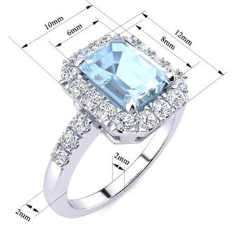 2 Carat Aquamarine and Halo Diamond Ring In 14 Karat White Gold